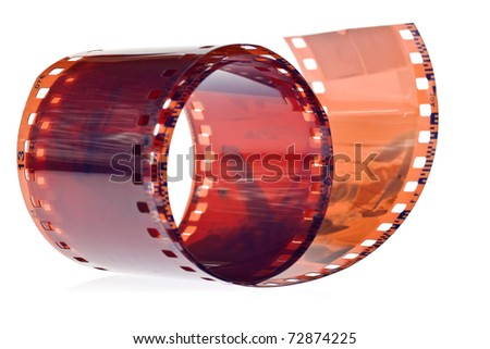 Photographic film in a white background - stock photo
