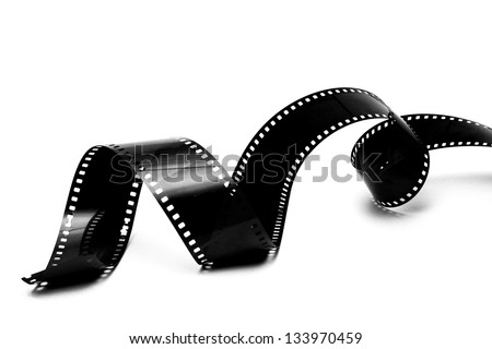 photographic film strip isolated on white background - stock photo