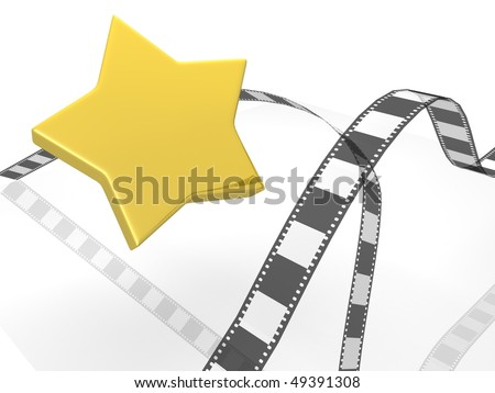 photographic film with star - stock photo
