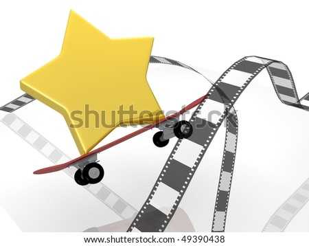 photographic film with star and skateboards - stock photo