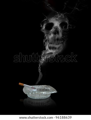 Photographic illustration featuring a skull in cigarette smoke. - stock photo