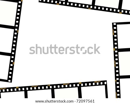 Photographic negatives isolated against a white background
