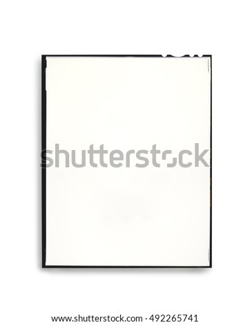 Photographic  plate isolated on white background with light shadow. Copy space. Clipping path on plate and frame