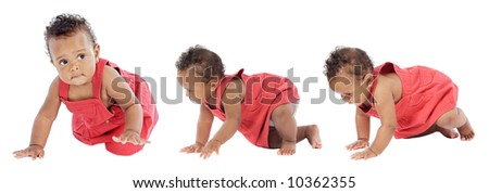 Photographic sequence Of a baby learning to walk - stock photo