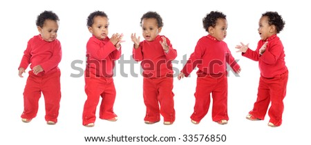 photographic sequence of a hyperactive baby a over white background - stock photo