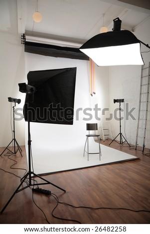 Photographic studio interior - stock photo