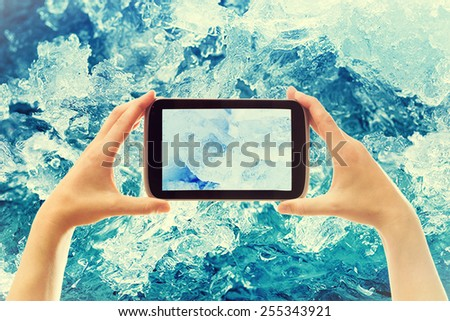 photographing ice crystals smartphone - stock photo