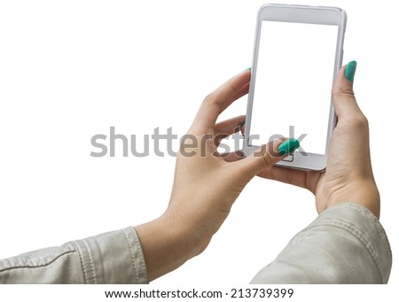 Photographing selfie with mobile phone, Isolated with Clipping Path on white background - stock photo