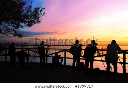 photographing the sunset - stock photo