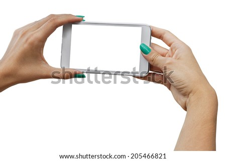 Photographing with mobile phone, Isolated with Clipping Path on white background - stock photo