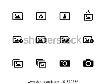 Photographs and Camera icons on white background. See also vector version. - stock photo