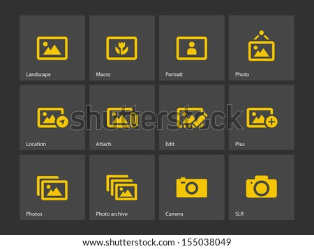 Photographs and Camera icons. See also vector version. - stock photo
