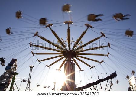Photographs of a amusement park ride - stock photo