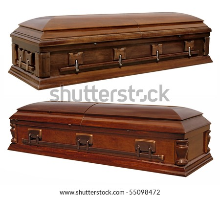 Photographs of two wooden coffins isolated on white.  Clipping paths included. - stock photo