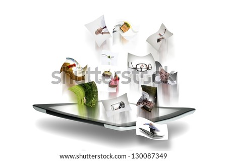 Photographs streaming from the screen on a tablet computer with motion blur depicting high speed transfer for online social media, blog, the web and the cloud for personal and business uses - stock photo