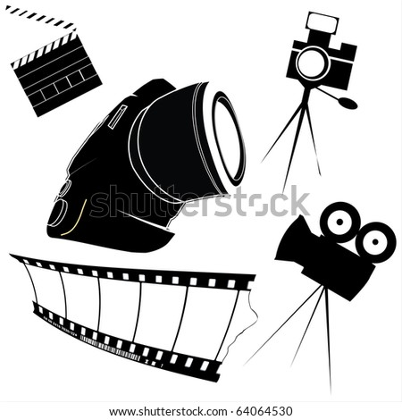Photography and film making related icons - stock photo
