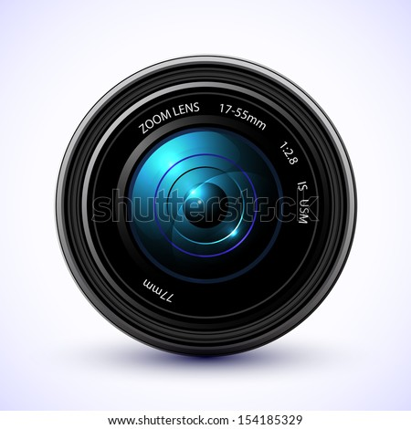 Photography background, camera photo lens with flare. Raster version