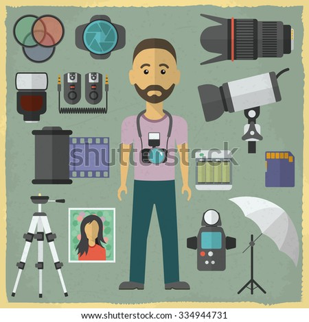 Photography character flat design. Photography flat icons. Raster version - stock photo