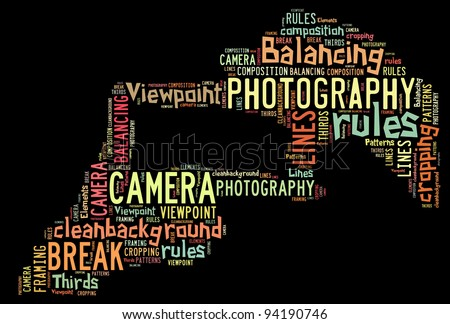Photography composition rules info-text (cloud word) composed in the shape of a generic camera on white background - stock photo