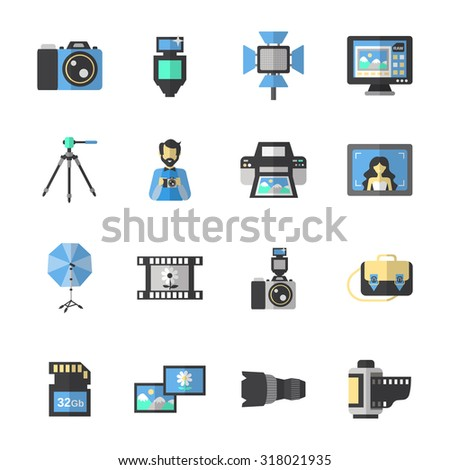 Photography equipment icons flat set with digital camera and editing soft isolated  illustration - stock photo