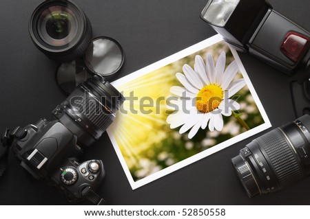 photography equipment like dslr camera  and image - stock photo