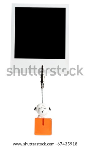 Photography holder with instant photo isolated on a white background. - stock photo