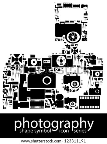 Photography icon symbols composed in the shape of a dslr camera - stock photo