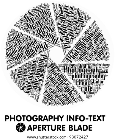 Photography info-text (cloud word) composed in the shape of aperture blades on white background - stock photo