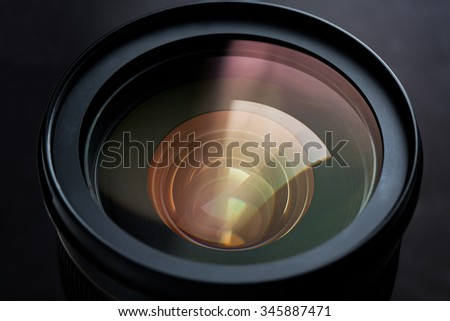 photography, object and art concept - close up of camera lens - stock photo
