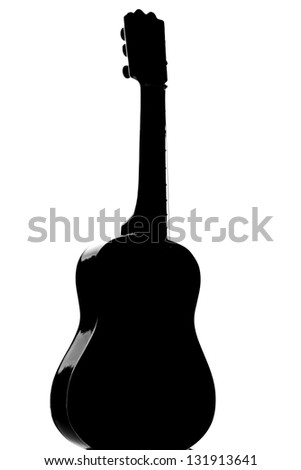 Photography of a Guitar silhouette - stock photo