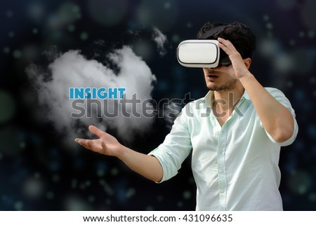 Photography of a man with a Virtual reality. Touching: Insight - VR - stock photo