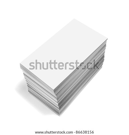 photography of a pile of blank business cards isolated on white - stock photo