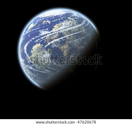 Photography of planet earth, isolated over black