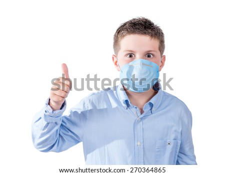 photography portrait of a boy with a face mask to avoid spreading their illness on a white background - stock photo
