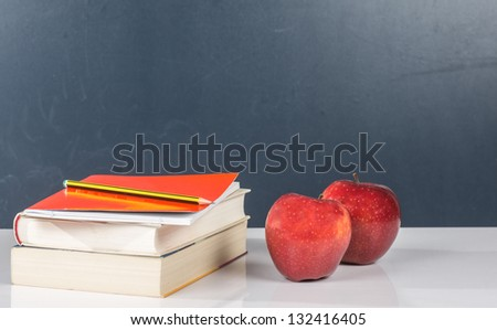 photography school supplies along with fresh fruit and tasty - stock photo