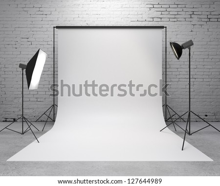 photography  studio with a light set-up and backdrop - stock photo