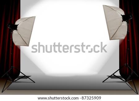 Photography studio with spot lamp - stock photo