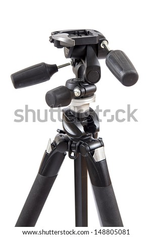 Photography tripod on a white background  - stock photo