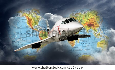 Photomontage of a concorde plane flying all over the world. - stock photo