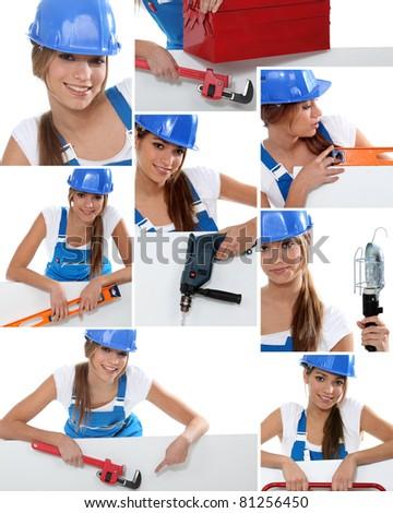 Photomontage of handywoman - stock photo
