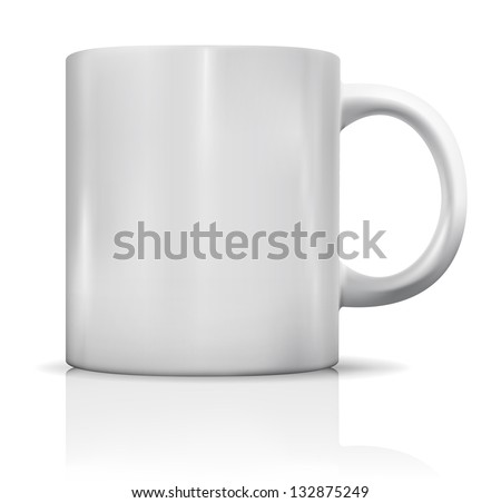 Photorealistic blank white cup with reflection. Mockup of coffee or tea cup - stock photo