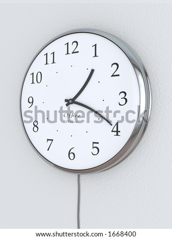 """Photorealistic 3D concept, a clock with bent hour hands, """"Office Hours"""" being written on it. Concept symbolizing flexible hours. - stock photo"""