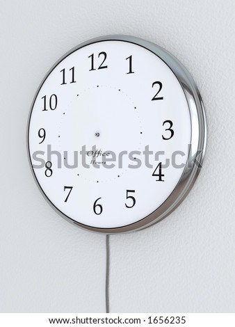 """Photorealistic 3D concept, a clock without the hour hands, """"Office Hours"""" being written on it. - stock photo"""