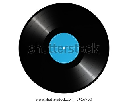 photorealistic 3D render of a vinyl record - stock photo