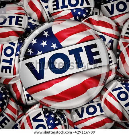Photorealistic 3D render of a vote button with the American flag between many small election pin badges - stock photo