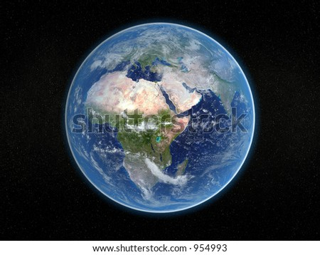 Photorealistic 3D rendering of planet earth viewed from space (Africa and Europe). - stock photo