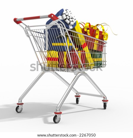 Photorealistic 3D shopping cart filled by gift isolated on white background. - stock photo