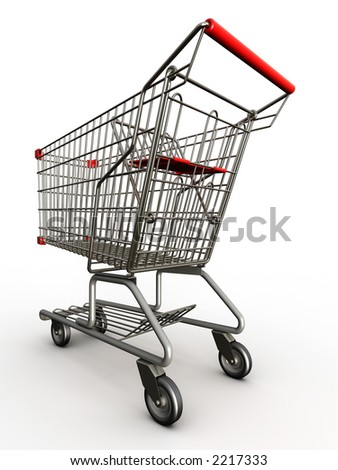 Photorealistic 3D shopping cart isolated on white background.
