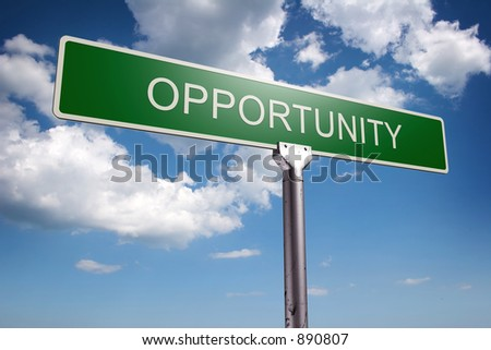 Photorealistic 3D sky-high opportunity street sign - stock photo