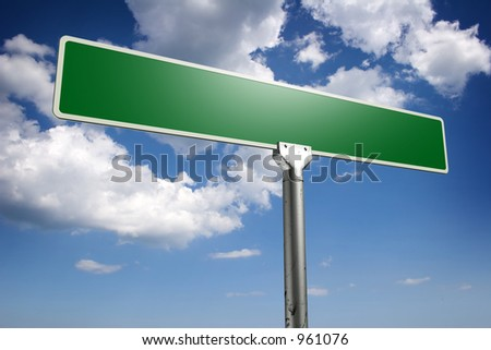 Photorealistic 3D sky-high street sign concept, empty to be personalized with your own words - stock photo
